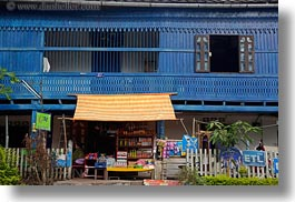 asia, awnings, blues, buildings, horizontal, laos, luang prabang, shops, stores, thatched, photograph