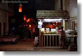 asia, buildings, coffee, crepes, glow, horizontal, laos, lights, luang prabang, nite, stands, stores, photograph