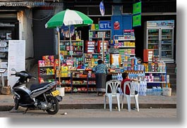 asia, buildings, foods, horizontal, laos, luang prabang, shops, stores, umbrellas, photograph
