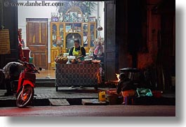 asia, buildings, horizontal, laos, luang prabang, motorcycles, nite, shops, stores, photograph
