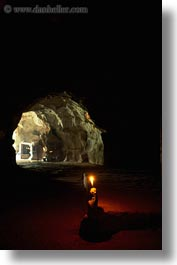 asia, buildings, candles, cave temple, caves, entrance, glow, laos, lights, luang prabang, temples, vertical, photograph