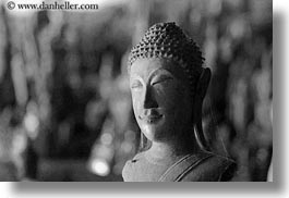 asia, black and white, buddhas, buildings, cave temple, caves, figurines, horizontal, laos, luang prabang, temples, photograph
