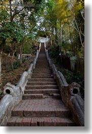 asia, buildings, huts, laos, luang prabang, phou si mountain, stairs, temples, vertical, photograph