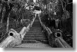 asia, black and white, buildings, horizontal, huts, laos, luang prabang, phou si mountain, stairs, temples, photograph