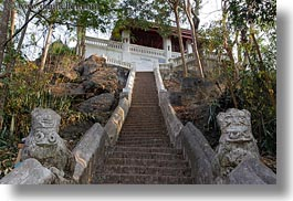asia, buildings, horizontal, huts, laos, luang prabang, phou si mountain, stairs, temples, photograph