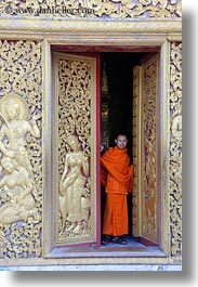 apsara, asia, buddhist, buildings, doors, golden, laos, luang prabang, monks, people, religious, temples, vertical, womens, xiethong, photograph