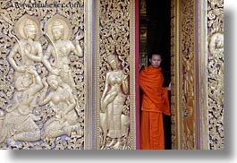 apsara, asia, buddhist, buildings, doors, golden, horizontal, laos, luang prabang, monks, people, religious, temples, womens, xiethong, photograph