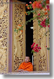 apsara, asia, buddhist, buildings, golden, laos, luang prabang, monks, people, religious, temples, vertical, windows, womens, xiethong, photograph