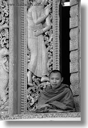 apsara, asia, black and white, buddhist, buildings, golden, laos, luang prabang, monks, people, religious, temples, vertical, windows, womens, xiethong, photograph