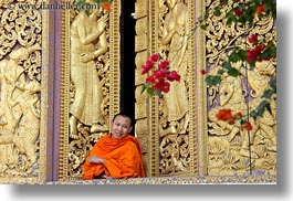 apsara, asia, buddhist, buildings, golden, horizontal, laos, luang prabang, monks, people, religious, temples, windows, womens, xiethong, photograph