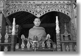 asia, black and white, buddhist, buildings, gates, horizontal, laos, luang prabang, monks, religious, temples, xiethong, photograph