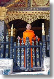 asia, buddhist, buildings, gates, laos, luang prabang, monks, religious, temples, vertical, xiethong, photograph