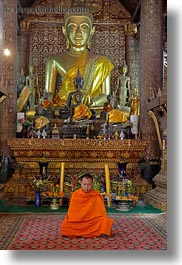 asia, buddhas, buddhist, buildings, golden, laos, luang prabang, monks, religious, sitting, temples, vertical, xiethong, photograph