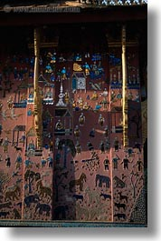asia, buddhist, buildings, colored, laos, luang prabang, religious, shiney, shiny tiled temple, temples, tiles, vertical, xiethong, photograph