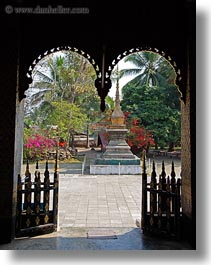 asia, buddhist, buildings, courtyard, gates, laos, luang prabang, religious, temples, vertical, xiethong, photograph
