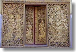 apsara, asia, bas reliefs, buddhist, buildings, golden, horizontal, laos, luang prabang, people, religious, temples, womens, xiethong, photograph