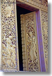 apsara, asia, bas reliefs, buddhist, buildings, golden, laos, luang prabang, people, religious, temples, vertical, womens, xiethong, photograph