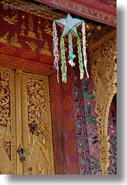 apsara, asia, buddhist, buildings, from, hangings, laos, luang prabang, people, religious, stars, temples, vertical, womens, xiethong, photograph