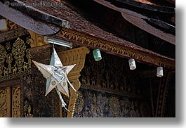 asia, buddhist, buildings, from, hangings, horizontal, laos, luang prabang, religious, stars, temples, xiethong, photograph