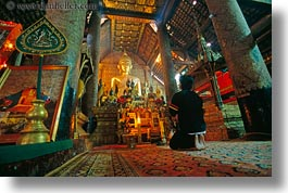 asia, buddhas, buddhist, buildings, golden, horizontal, laos, luang prabang, praying, religious, temples, xiethong, photograph