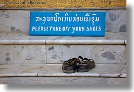asia, buddhist, buildings, horizontal, language, laos, laosians, luang prabang, religious, shoes, signs, temples, xiethong, photograph