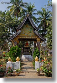 asia, buddhist, buildings, laos, luang prabang, religious, shrine, small, temples, vertical, xiethong, photograph