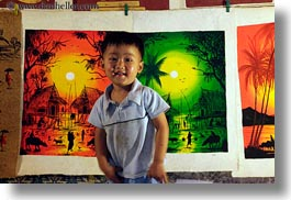 arts, asia, boys, childrens, horizontal, laos, luang prabang, market, paintings, people, photograph