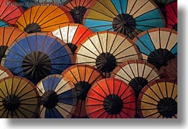 asia, colorful, horizontal, laos, luang prabang, market, umbrellas, photograph