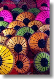 asia, colorful, laos, luang prabang, market, umbrellas, vertical, photograph