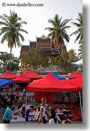 asia, bazaar, laos, luang prabang, market, nature, palm trees, plants, structures, temples, tents, trees, vertical, photograph