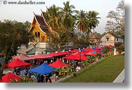 asia, bazaar, horizontal, laos, luang prabang, market, nature, palm trees, plants, structures, temples, tents, trees, photograph