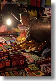 asia, crafts, laos, luang prabang, market, old, people, selling, senior citizen, vertical, womens, photograph