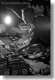 asia, black and white, crafts, laos, luang prabang, market, old, people, selling, senior citizen, vertical, womens, photograph