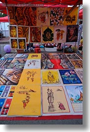 arts, asia, laos, luang prabang, market, paintings, vertical, photograph