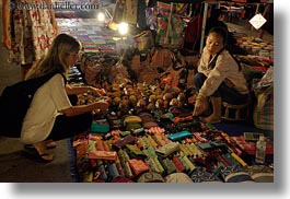 asia, buying, horizontal, laos, luang prabang, market, trinkets, womens, photograph