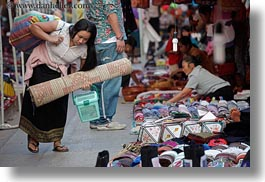 asia, carrying, horizontal, laos, luang prabang, market, mat, rolled, womens, photograph