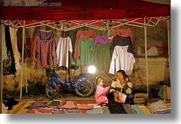 asia, bicycles, daughter, horizontal, laos, luang prabang, market, shirts, womens, photograph