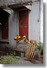asia, baskets, doors, laos, luang prabang, vertical, photograph