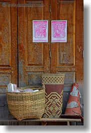 asia, baskets, doors, laos, luang prabang, vertical, woods, photograph