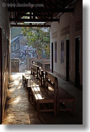 asia, benches, laos, luang prabang, sunlight, vertical, photograph