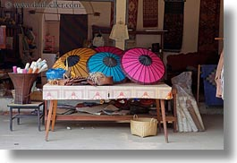 asia, colorful, horizontal, laos, luang prabang, umbrellas, photograph
