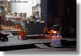 asia, fire, homes, horizontal, laos, luang prabang, nite, open, streets, photograph