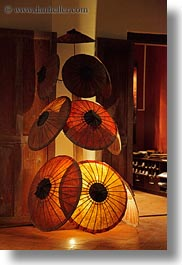 asia, illuminated, laos, luang prabang, umbrellas, vertical, photograph