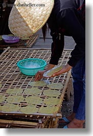 asia, crepes, laos, luang prabang, making, rice, vertical, photograph