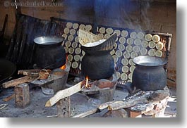 asia, cooking, horizontal, laos, luang prabang, pots, rice, sticky, photograph