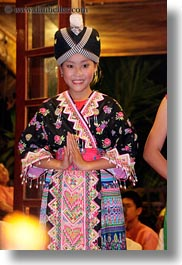 asia, asian, black, dance, dancing, emotions, girls, laos, luang prabang, people, smiles, vertical, photograph