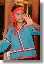 asia, asian, bandana, blues, clothes, dance, dancing, emotions, girls, laos, luang prabang, people, smiles, vertical, photograph