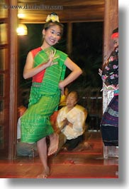 asia, asian, dance, dancing, emotions, girls, green, laos, luang prabang, people, smiles, vertical, photograph