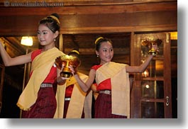 asia, asian, dance, dancing, emotions, girls, horizontal, laos, luang prabang, people, quartet, smiles, photograph