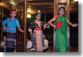 asia, asian, dance, dancing, emotions, girls, horizontal, laos, luang prabang, people, smiles, trio, photograph
